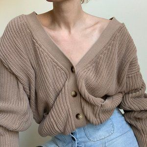 Vintage Sweaters - Vintage Slouchy Chunky Knit Cotton Crop Cardigan